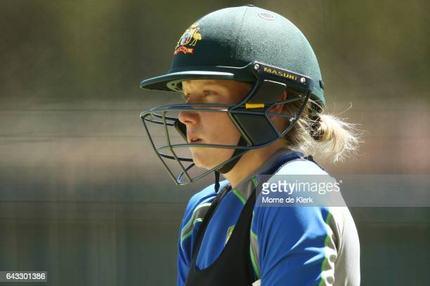 Alyssa Healy of Australia looks on during a Southern Stars training session at Adelaide Oval on February 21 2017 in Adelaide Australia