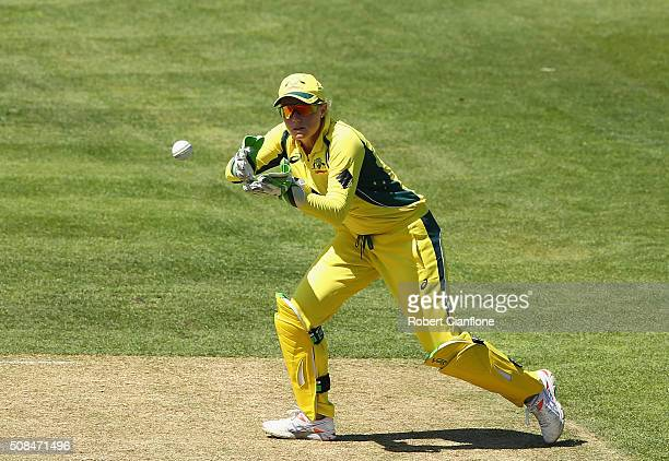Alyssa Healy of Australia takes the ball during game two of the women's one day international series between Australia and India at Blundstone Arena...