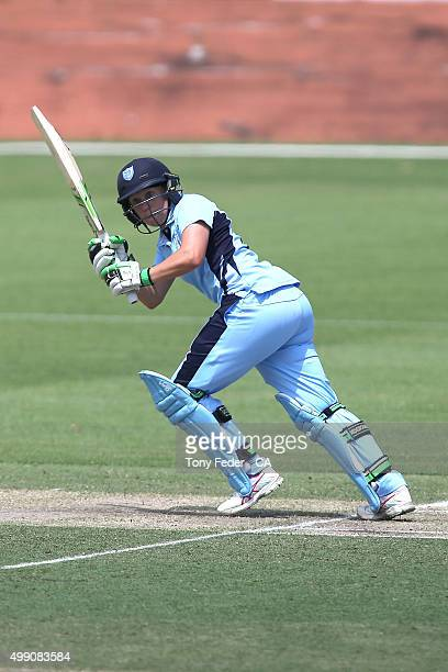 Alyssa Healy of NSW Breakers plays a shot during the WNCL Final match between the New South Wales and South Australia at Hurstville Oval on November...