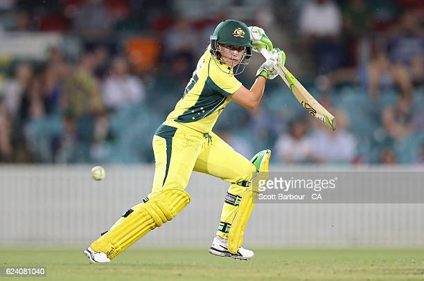 Alyssa Healy of the Australian Southern Stars bats during the women's one day international match between the Australian Southern Stars and South...