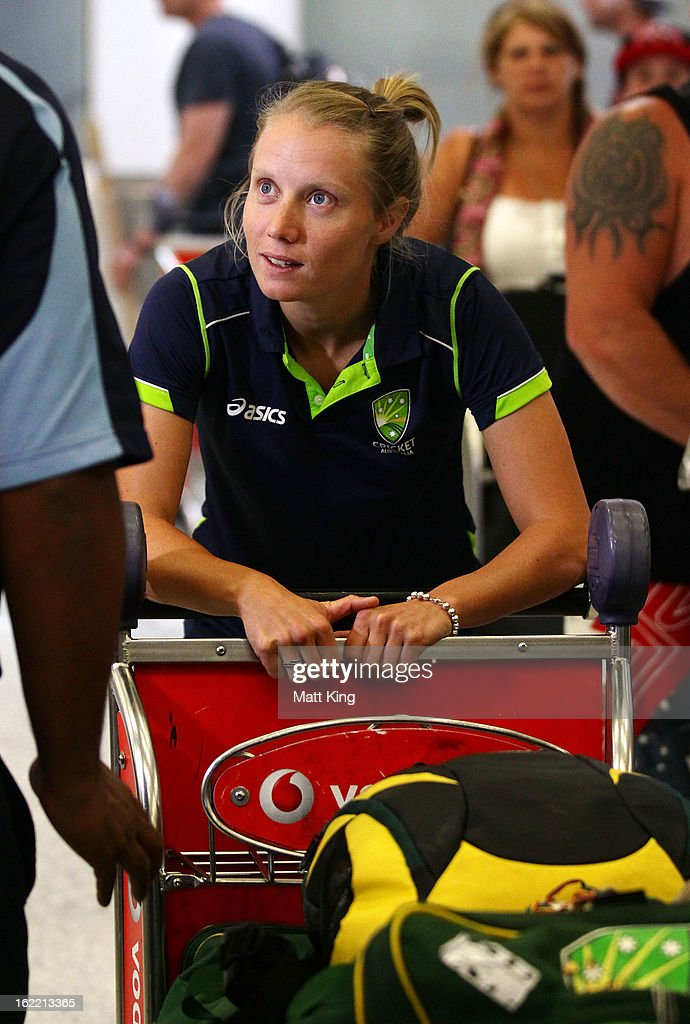 Alyssa Healy of the Australian women's cricket team arrives home following their win in the 2013 World Cup at Sydney International Airport on February 21, 2013 in Sydney, Australia.