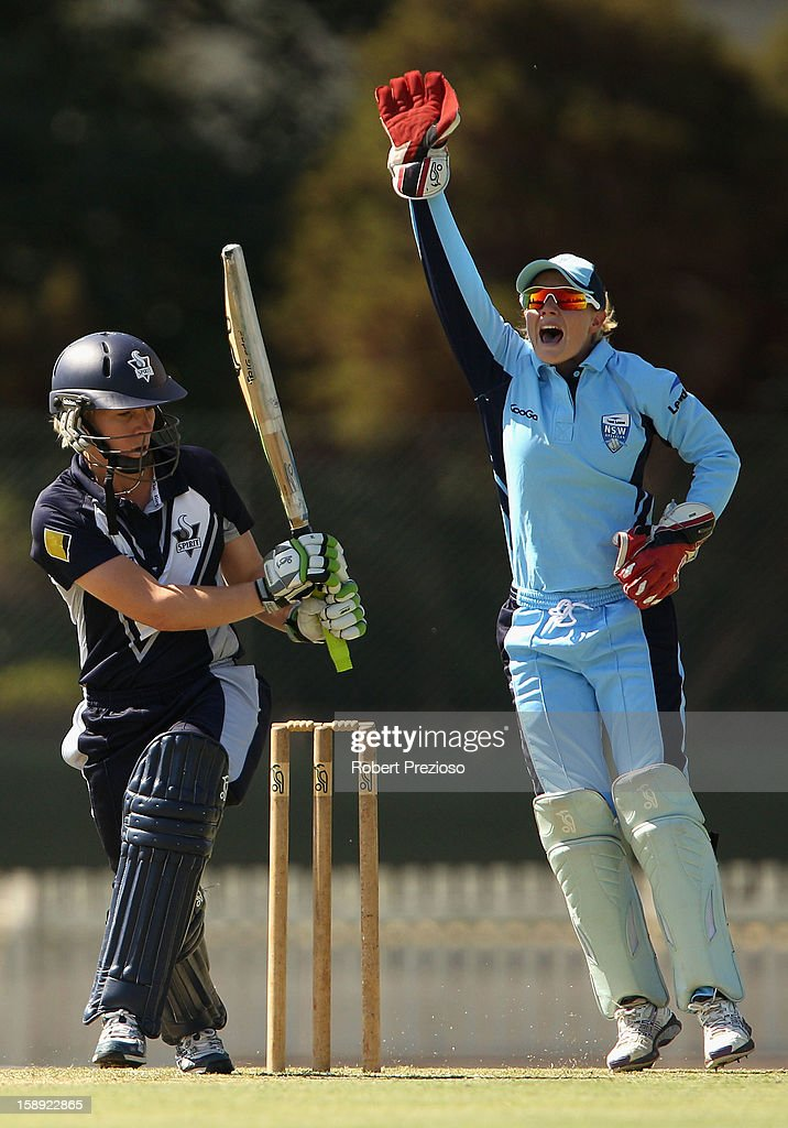 Alyssa Healy of the Breakers appeals for lbw during the Women's Twenty20 match between the Victoria Spirit and the New South Wales Breakers at Junction Oval on January 4, 2013 in Melbourne, Australia.