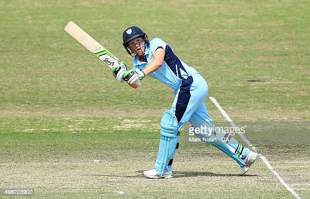 Alyssa Healy of the Breakers bats during the WNCL match between the Victoria Spirit and the New South Wales Breakers at Manuka Oval on November 22...