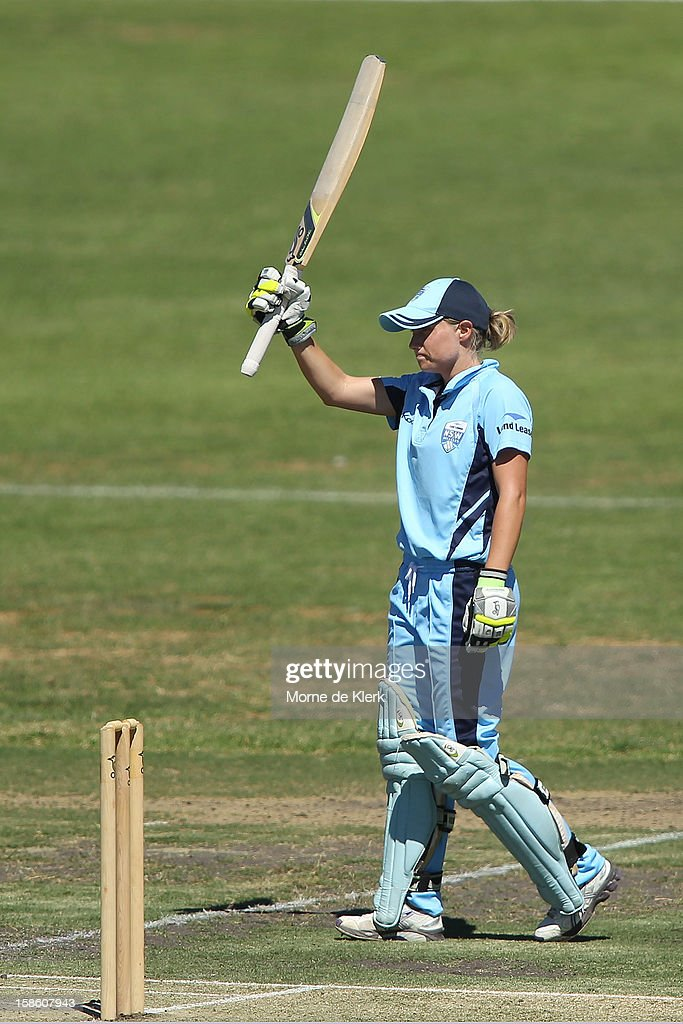 Alyssa Healy of the Breakers celebrates after reaching 50 runs during the women's Twenty20 match between the South Australia Scorpions and the New South Wales Breakers at Prospect Oval on December 21, 2012 in Adelaide, Australia.