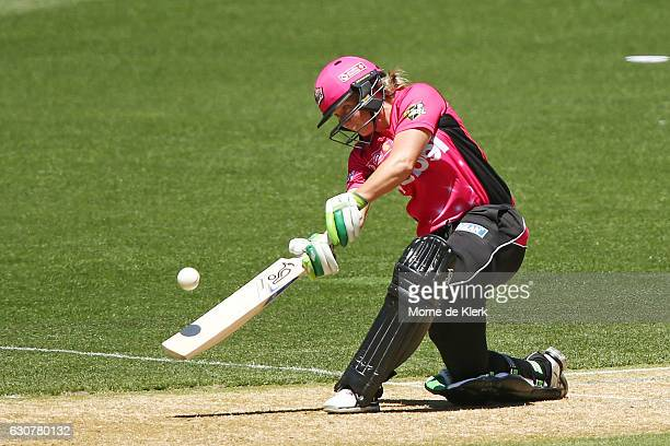 Alyssa Healy of the Sydney Sixersl bats during the WBBL match between the Sixers and Strikers on January 2 2017 in Adelaide Australia