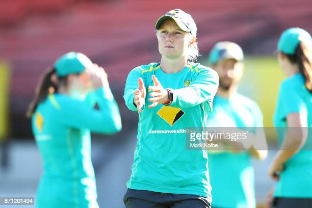 Alyssa Healy stretches during an Australian women's Ashes series training session at North Sydney Oval on November 7 2017 in Sydney Australia