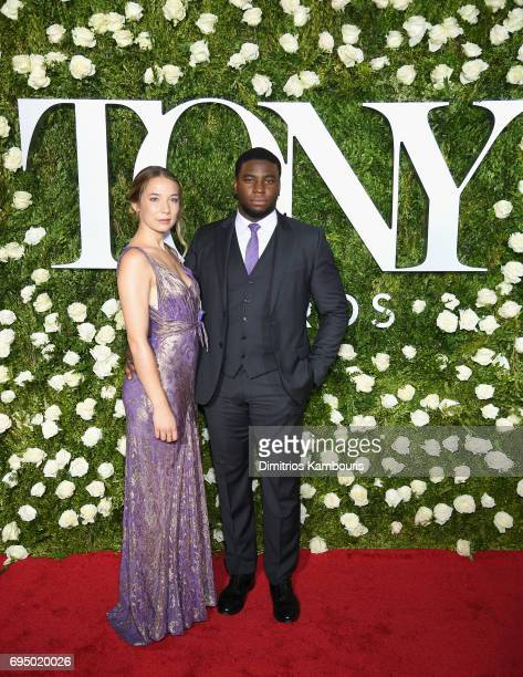 Alyssa Kempinski and Okieriete Onaodowan attend the 2017 Tony Awards at Radio City Music Hall on June 11 2017 in New York City