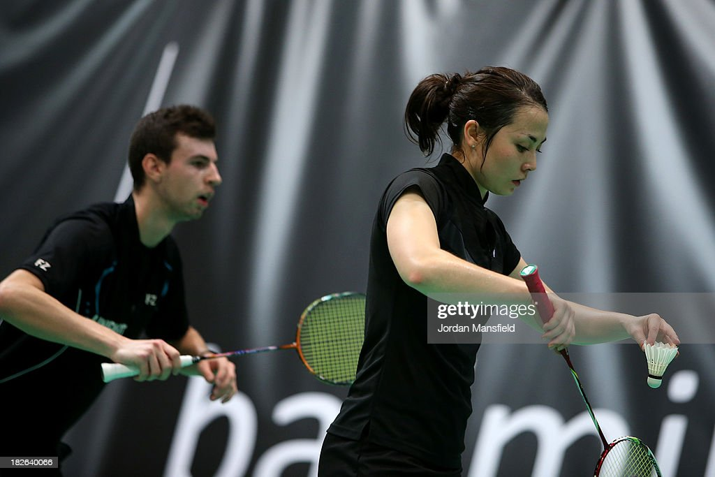 Alyssa Lim (R) and Christopher Coles (L) of England in action during Day Two of the London Badminton Grand Prix at The Copper Box on October 2, 2013 in London, England.