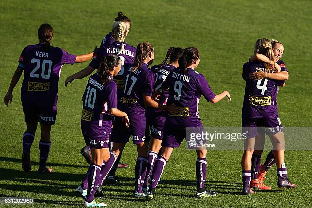 Alyssa Mautz and Nicole Stanton of the Glory embrace after a goal during the round 11 WLeague match between the Perth Glory and Melbourne Victory at...