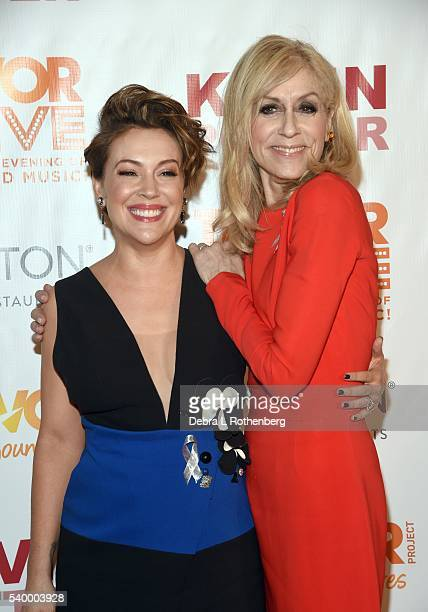 Alyssa Milano and Judith Light attend the 2016 TrevorLive New York event at Marriott Marquis Times Square on June 13 2016 in New York City