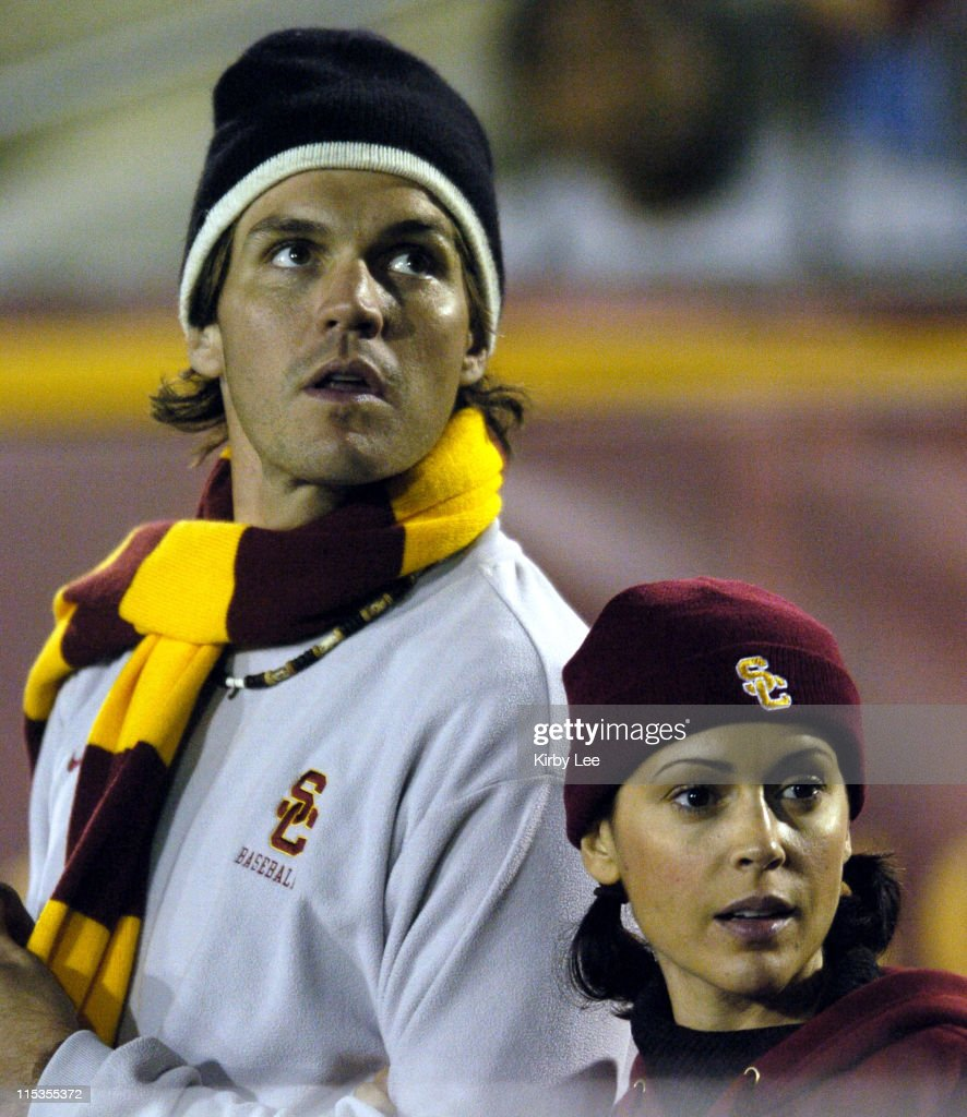 Alyssa Milano and Oakland Athletics pitcher and USC alumnus Barry Zito at USC football game against Arizona at the Los Angeles Memorial Coliseum on...