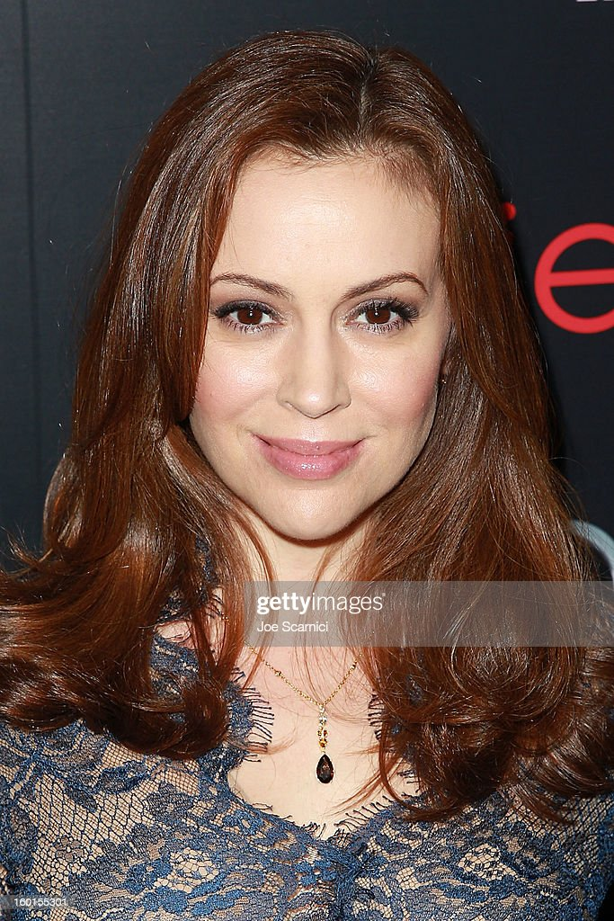 Alyssa Milano arrives at Entertainment Weekly Screen Actors Guild Awards Pre-Party at Chateau Marmont on January 26, 2013 in Los Angeles, California.
