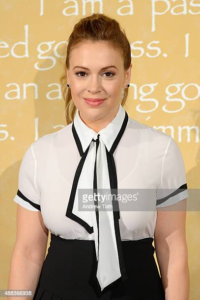 Alyssa Milano attends the Alice Olivia by Stacey Bendet show during the Spring 2016 New York Fashion Week at The Gallery Skylight at Clarkson Sq on...