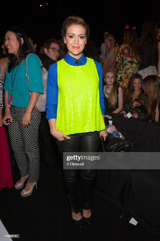 <a gi-track='captionPersonalityLinkClicked' href=/galleries/search?phrase=Alyssa+Milano&family=editorial&specificpeople=203329 ng-click='$event.stopPropagation()'>Alyssa Milano</a> attends the Project Runway Spring 2014 fashion show at The Theater at Lincoln Center on September 6, 2013 in New York City.