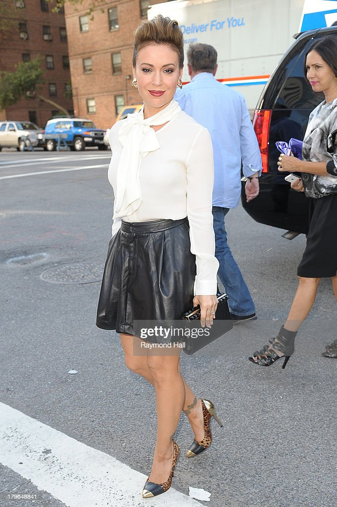 <a gi-track='captionPersonalityLinkClicked' href=/galleries/search?phrase=Alyssa+Milano&family=editorial&specificpeople=203329 ng-click='$event.stopPropagation()'>Alyssa Milano</a> attends the Tadashi Shoji Spring 2014 fashion show at The Stage Lincoln Center on September 5, 2013 in New York City.