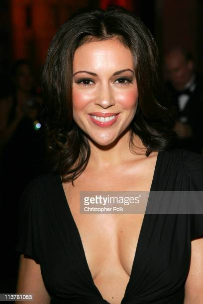 Alyssa Milano during 25th Anniversary Gala for PETA and Humanitarian Awards Red Carpet at Paramount Pictures in Hollywood California United States