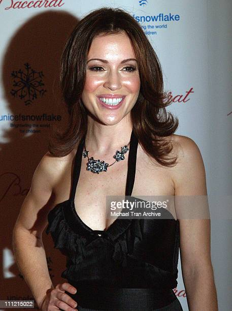Alyssa Milano during Baccarat Presents the Lighting of the UNICEF Crystal Snowflake and Chandelier Display on Rodeo Drive Followed by the First...