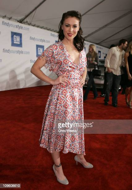 Alyssa Milano during General Motors Annual ten Celebrity Fashion Show Red Carpet at 1540 Vine Street in Los Angeles California United States
