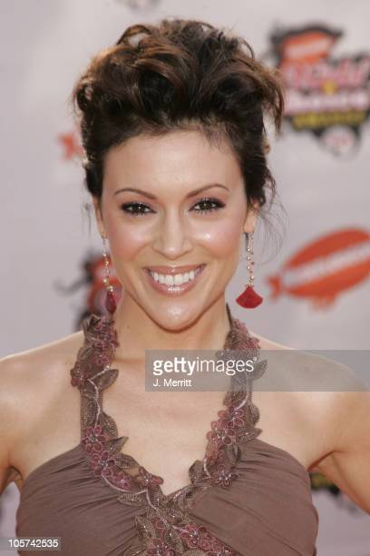 Alyssa Milano during Nickelodeon's 18th Annual Kids Choice Awards Arrivals at Pauley Pavilion in Los Angeles California United States