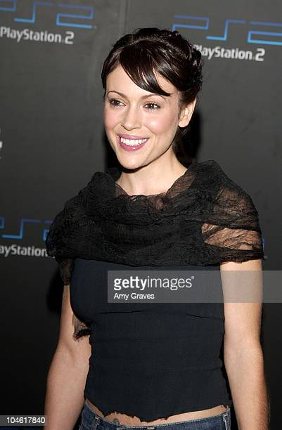 Alyssa Milano during PlayStation2 and Guy Oseary Host Online Gaming Tournament for Charity at Private Residence in Beverly Hills California United...