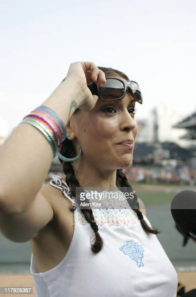 Alyssa Milano during pregame activities for the Home Run Derby at the MLB AllStar Game 2006 at PNC Park in Pittsburgh Pennsylvania on July 10 2006