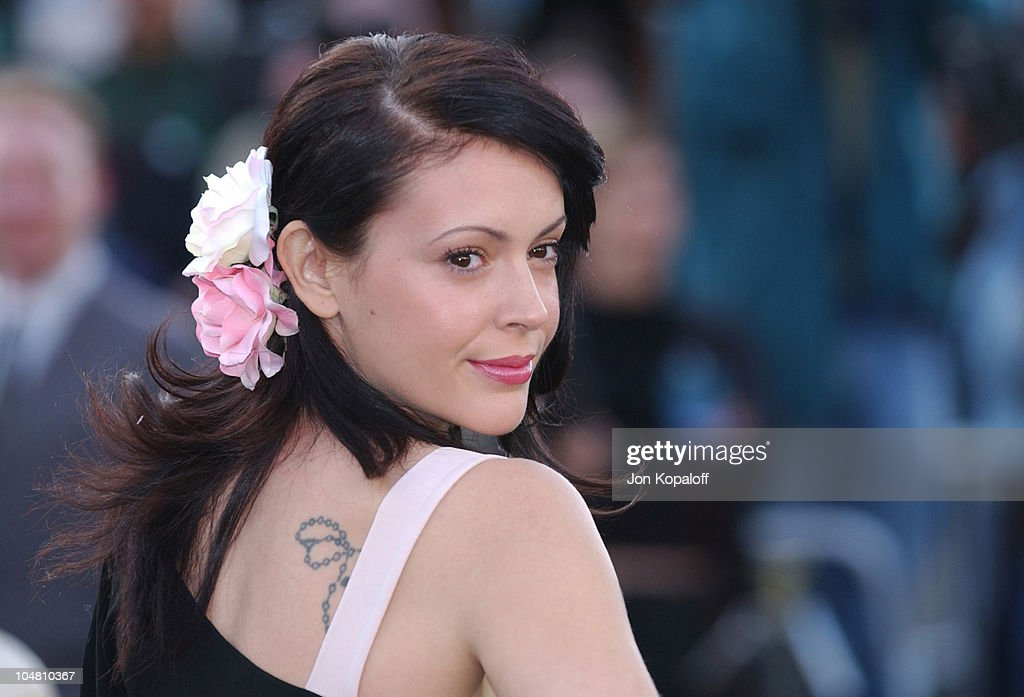 Alyssa Milano during 'The Matrix Reloaded' Premiere - Arrivals at The Mann Village Theater in Westwood, California, United States.