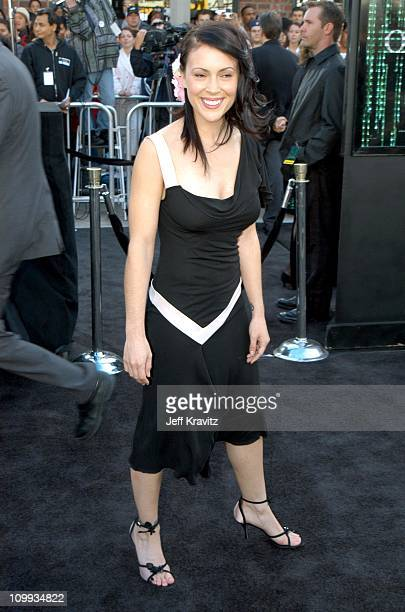 Alyssa Milano during The Matrix Reloaded Premiere at Mann Village Theater in Westwood California United States