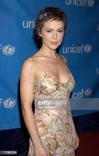 Alyssa Milano during UNICEF Goodwill Gala Celebrating 50 Years of Celebrity Goodwill Ambassadors Red Carpet at The Beverly Hilton in Beverly Hills...
