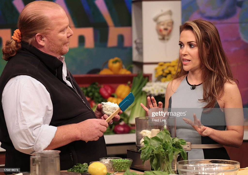 THE CHEW - (airs June 10, 2013) Alyssa Milano (ABC's 'Mistresses') joins Clinton Kelly and Mario Batali in the kitchen to make Pasta Primavera Mascarpone Ravioli; author and NY Times food writer Mark Bittman talks about his book, Vegan Before 6:00. 'The Chew' airs MONDAY - FRIDAY (1-2pm, ET) on the ABC Television Network. MILANO
