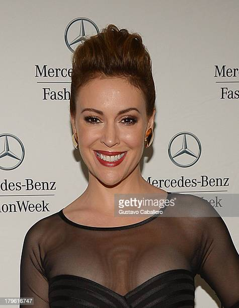 Alyssa Milano seen around Lincoln Center Day 1 MercedesBenz Fashion Week Spring 2014 at Lincoln Center for the Performing Arts on September 5 2013 in...