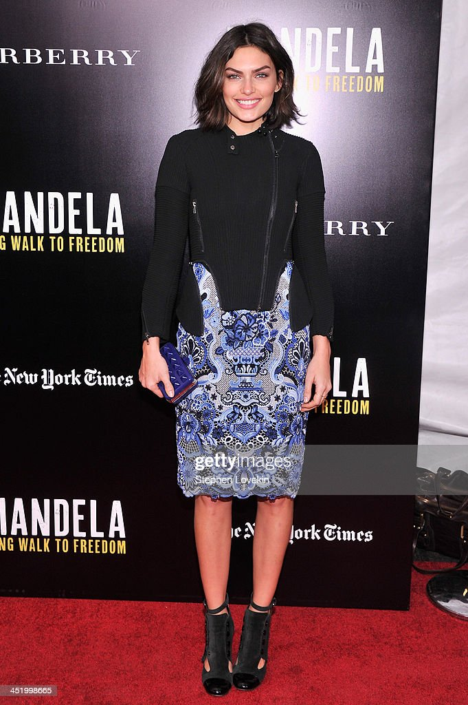 <a gi-track='captionPersonalityLinkClicked' href=/galleries/search?phrase=Alyssa+Miller&family=editorial&specificpeople=5364734 ng-click='$event.stopPropagation()'>Alyssa Miller</a> attends a screening of 'Mandela: Long Walk to Freedom', hosted by U2, Anna Wintour and Bob & Harvey Weinstein, with Burberry at the Ziegfeld Theater on November 25, 2013 in New York City.