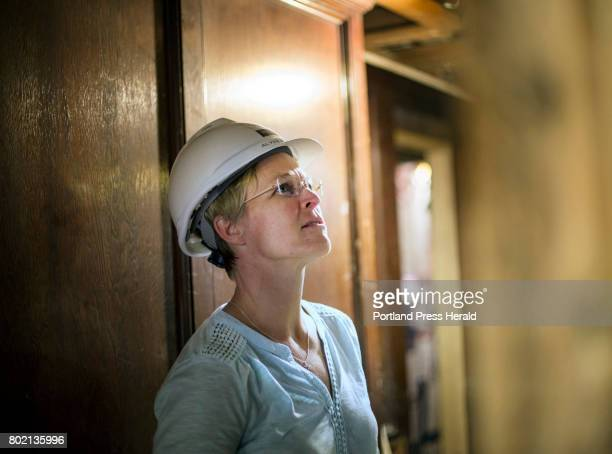 Alyssa Parker Director of Commercial Project Management at WrightRyan Construction checks on the work progress at a construction site at 749 Congress...