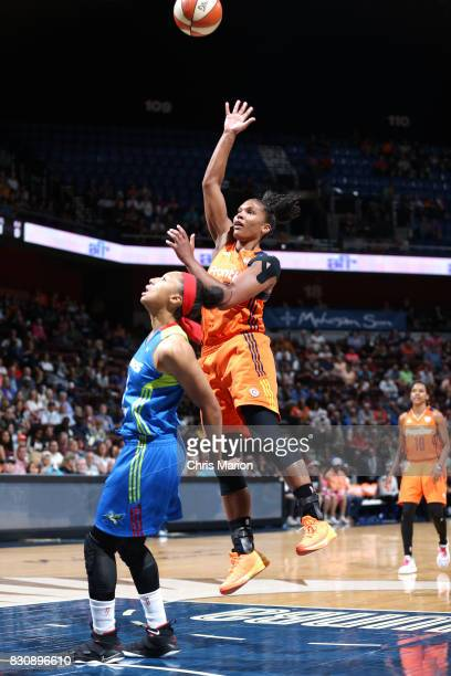Alyssa Thomas of the Connecticut Sun shoots the ball against the Dallas Wings on August 12 2017 at Mohegan Sun Arena in Uncasville CT NOTE TO USER...