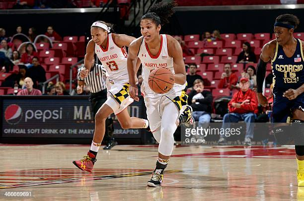 Alyssa Thomas of the Maryland Terrapins handles the ball against the Georgia Tech Yellow Jackets at the Comcast Center on January 19 2014 in College...