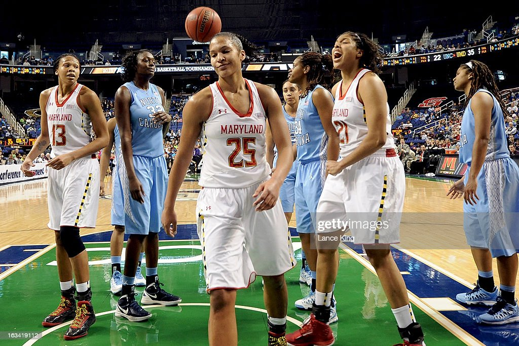 Alyssa Thomas #25 of the Maryland Terrapins reacts against the North Carolina Tar Heels during the semifinals of the 2013 Women's ACC Tournament at the Greensboro Coliseum on March 9, 2013 in Greensboro, North Carolina.