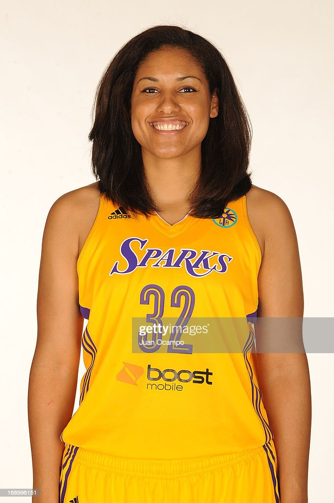 Alyssia Brewer #32 of the Los Angeles Sparks poses for a headshot during the Los Angeles Sparks Media Day on May 17, 2013 at St. Mary's School in Inglewood, California.