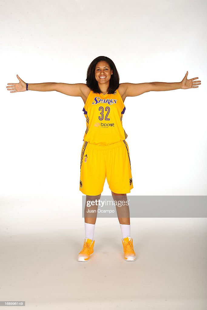 Alyssia Brewer #32 of the Los Angeles Sparks poses for a photo during the Los Angeles Sparks Media Day on May 17, 2013 at St. Mary's School in Inglewood, California.