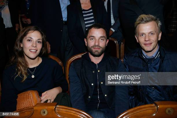 Alysson Paradis Guillaume Gouix and Alex Lutz attend 'La vraie vie' Theater Play at Theatre Edouard VII on September 18 2017 in Paris France