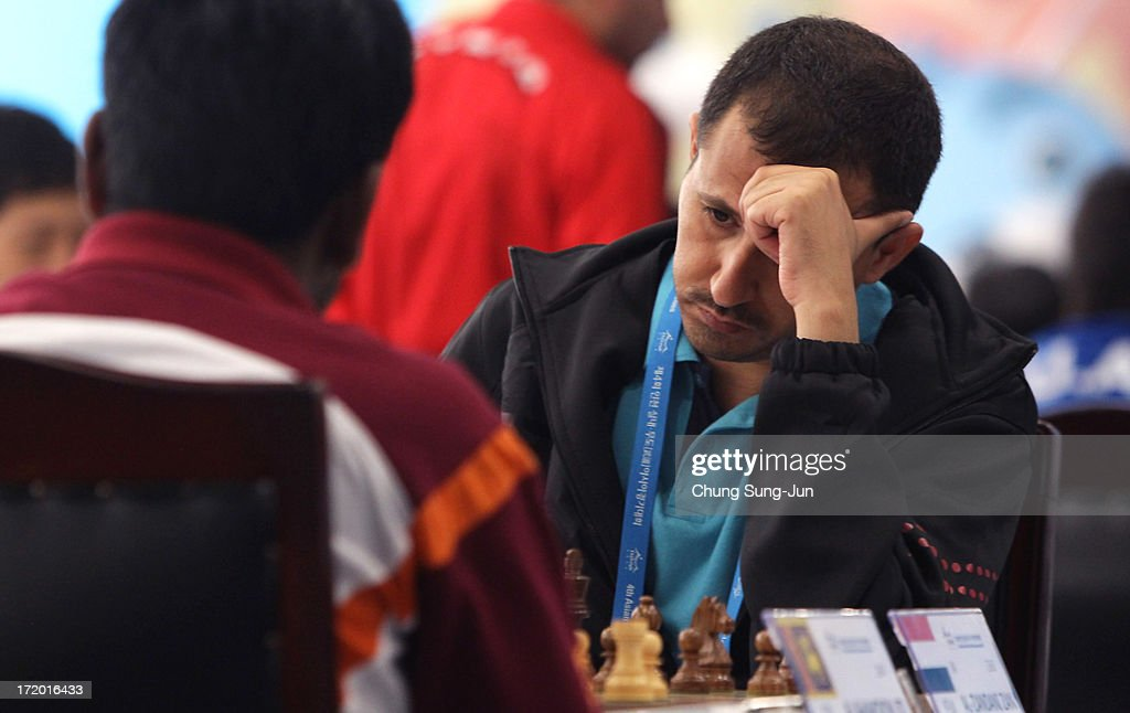 Al-Zandani Zan of Yemen competes in the Chess, Men's Classical round 2 during day three of the 4th Asian Indoor & Martial Arts Games at Yonsei International Campus on July 1, 2013 in Incheon, South Korea.