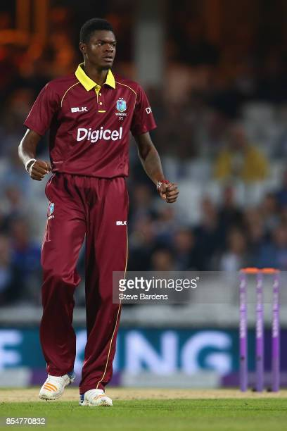 Alzarri Joseph of West Indies celebrates taking the wicket of Joe Root of England caught by Shai Hope during the 4th Royal London One Day...