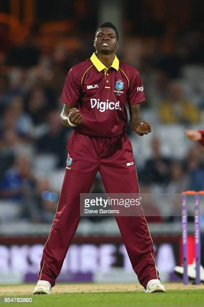 Alzarri Joseph of West Indies celebrates taking the wicket of Jonny Bairstow of England caught by Shai Hope during the 4th Royal London One Day...