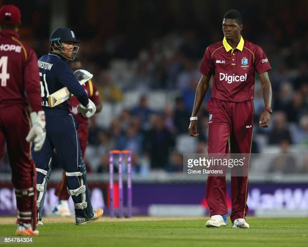 Alzarri Joseph of West Indies looks away after taking the wicket of Jonny Bairstow of England caught by Shai Hope during the 4th Royal London One Day...