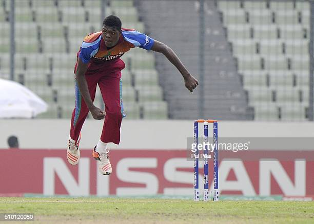 Alzarri Joseph of West Indies U19 bowls during the ICC U19 World Cup Final Match between India and West Indies on February 14 2016 in Dhaka Bangladesh