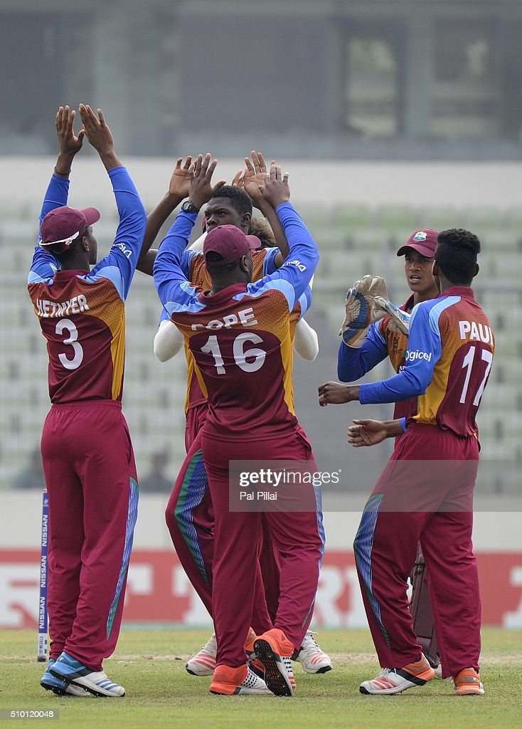 Alzarri Joseph of West Indies U19 celebrates the wicket of Anmolpreet Singh of India during the ICC U19 World Cup Final Match between India and West Indies on February 14, 2016 in Dhaka, Bangladesh.