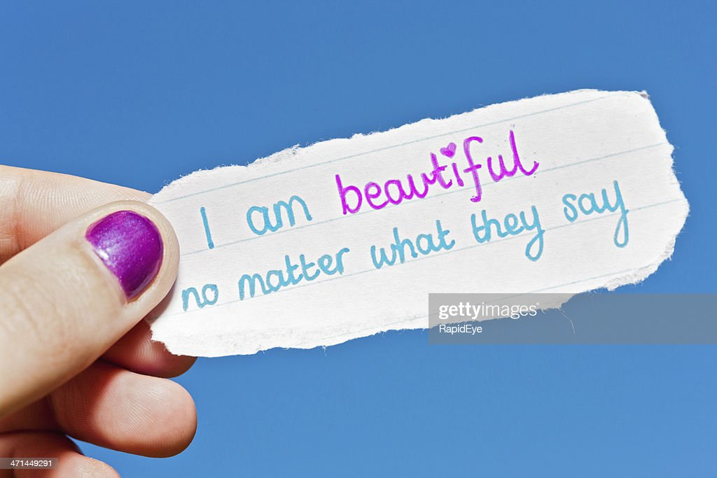 I am beautiful no matter what says hand-drawn affirmation