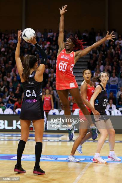 Ama Agbeze of England defends against Maria Tutaia of New Zealand during the International test match between the New Zealand Silver Ferns and the...