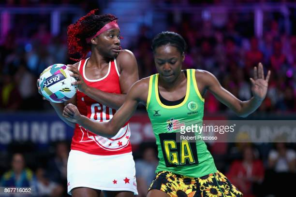 Ama Agbeze of England gathers the ball during the Fast5 World Series Netball match between Jamaica and England at Hisense Arena on October 29 2017 in...