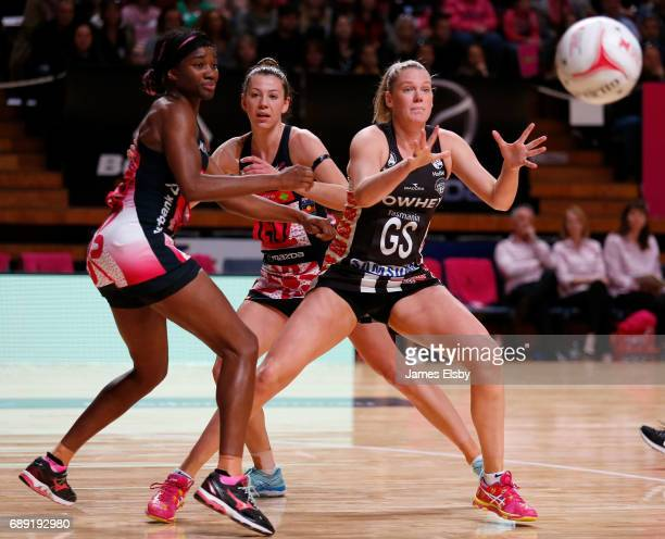 Ama Agbeze of the Thunderbirds competes with Caitlin Twaites of the Magpies during the round 14 Super Netball match between the Thunderbirds and...