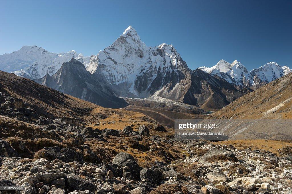 Ama Dablam mountain peak from Kongma la pass, Everest region