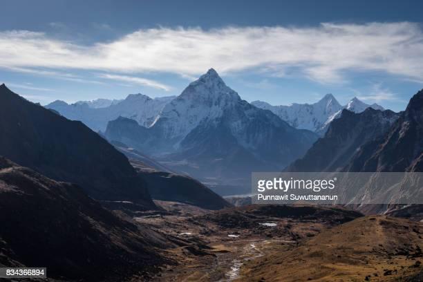 Ama Dablam mountain peak in a morning sunrise, Everest region, Nepal